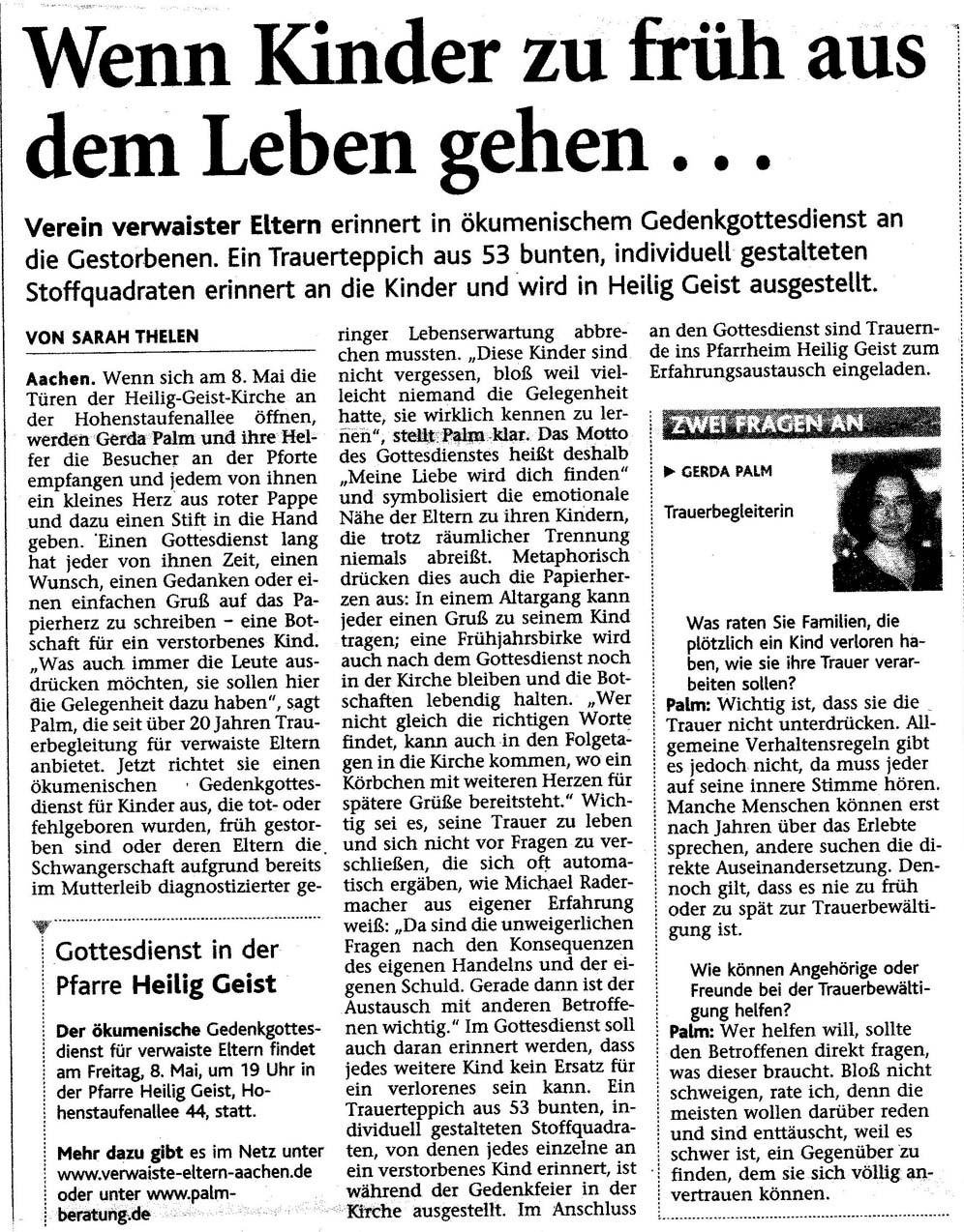 Aachener Nachrichten - 18. April 2009